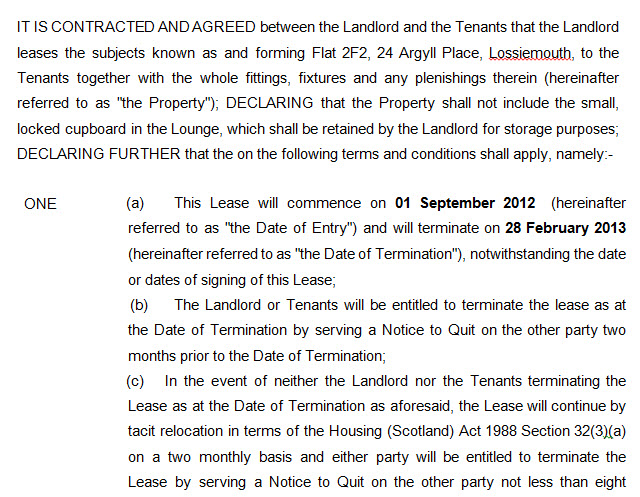 Excerpt from residential lease