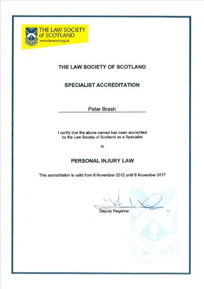 Peter Brash Law Society of Scotland Personal Injury Specialist Accreditation Certificate