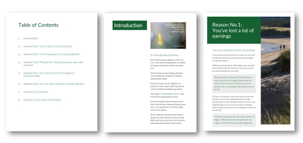 Examples of 3 pages from the eBook '5 Reasons Why People In Moray Claim For Personal Injury'
