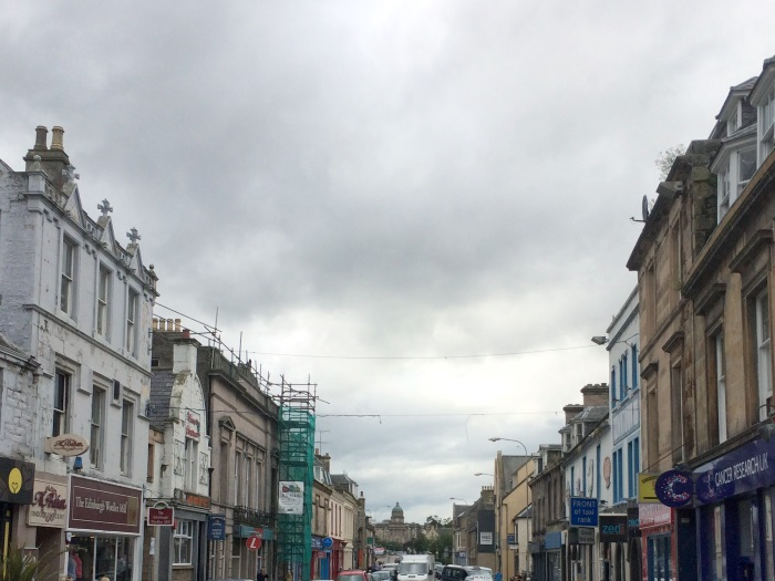 The dome of Dr Gray's Hospital in the distance, looking west along Elgin High Street, Moray
