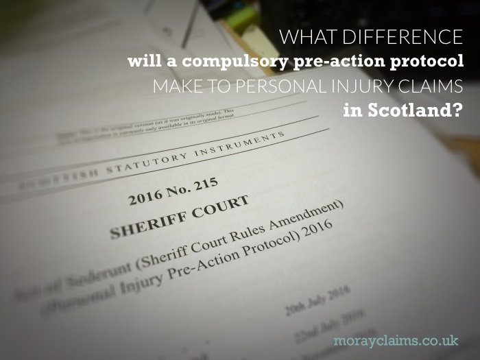 Scottish Statutory Instrument bringing in compulsory Personal Injury Pre-Action Protocol 2016