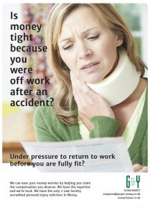Woman with neck in a brace collar looking with concern at a bill