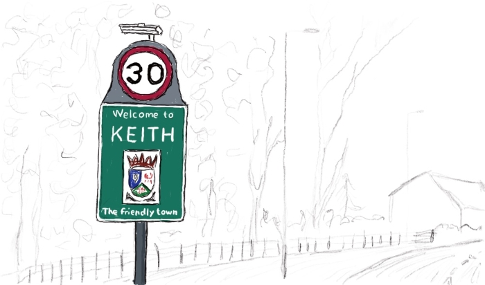 Road sign marking the western entrance to Keith, Moray, on the A96 road