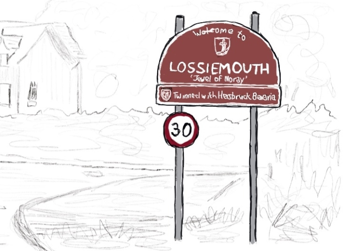 Road sign marking the western entrance to Lossiemouth, Moray