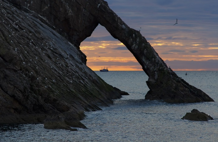 Bow Fiddle Rock, near Portknockie, Moray, at sunrise