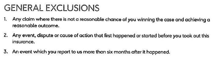 Excerpt from General Exclusions from a Legal Expenses Insurance Policy