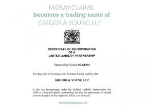 Moray Claims becomes a trading name of Grigor & Young LLP