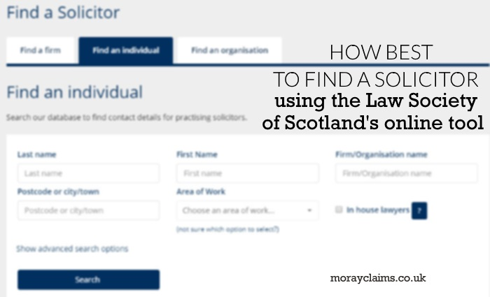 Screenshot of the Law Society of Scotland's Find a Solicitor Online Tool