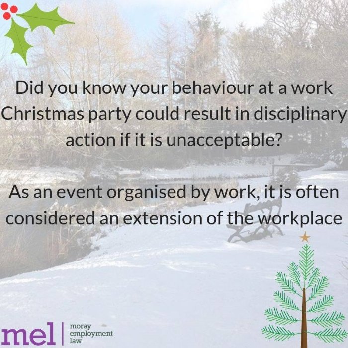 Moray Employment Law Fact Friday image - Watch your behaviour at the work Christmas party