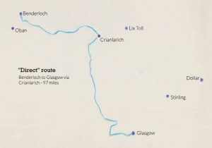 Map showing Benderloch, Argyll, to Glasgow via Crianlarich - direct