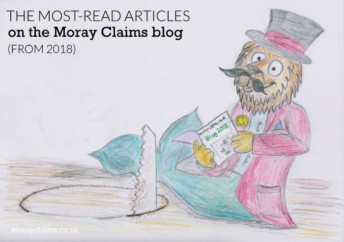 A Cartoon Dandy Lion reading the Moray Claims Blog with saw
