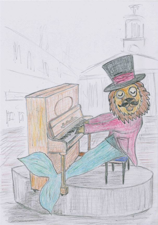 Dandy Lion plays the piano at Elgin Plainstones, Moray