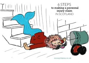 Cartoon of Dandy Lion having fallen down stairs
