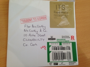 Letter to Republic of Ireland missent via Korea