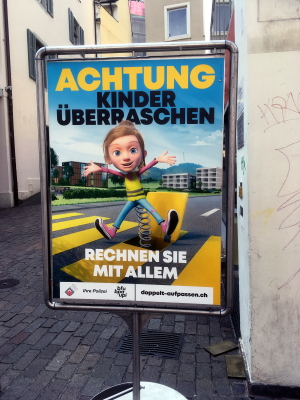 Swiss Road Safety Poster warning of risks to child pedestrians