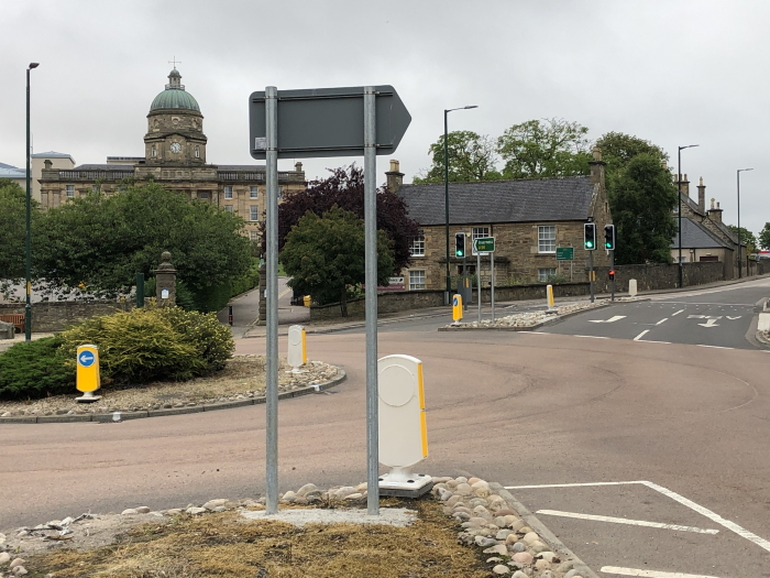 Dr Gray's Roundabout, Elgin, Moray, after signage improvement - August 2020